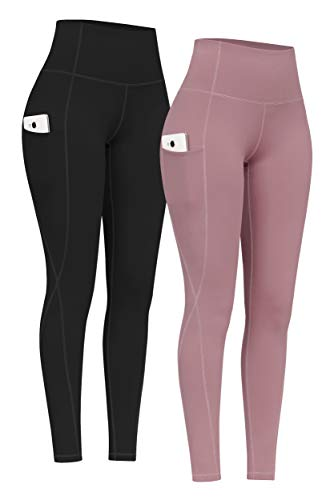 PHISOCKAT 2 Pack High Waist Yoga Pants with Pockets, Tummy Control Yoga Pants for Women, Workout 4 Way Stretch Yoga Leggings (Black+Pink, Medium)