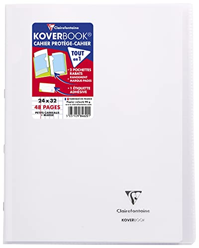 Clairefontaine 984620C Un Cahier Agrafé Koverbook Incolore - 24x32 cm - 48 Pages Petits Carreaux avec Marge - Papier Blanc 90 g - Couverture Polypro