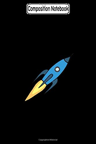 Composition Notebook: Blue retro rocket ship simple modern outer space Journal Notebook Blank Lined Ruled 6x9 100 Pages