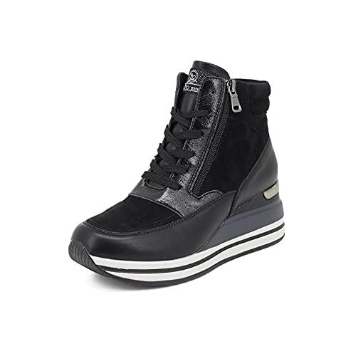 QUEEN HELENA X25-25 Zapatillas Deportivas Altas con Plataforma para Mujer (Negro, Numeric_37)