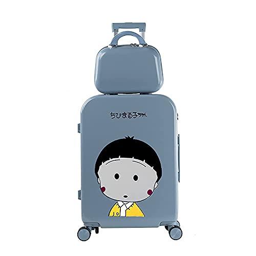 QIXIAOCYB Maleta para estudiantes con equipaje para niños y niñas, código de viaje, estilo madre e niño, color rosa, 55,88 cm (color: azul, tamaño: 66 cm)