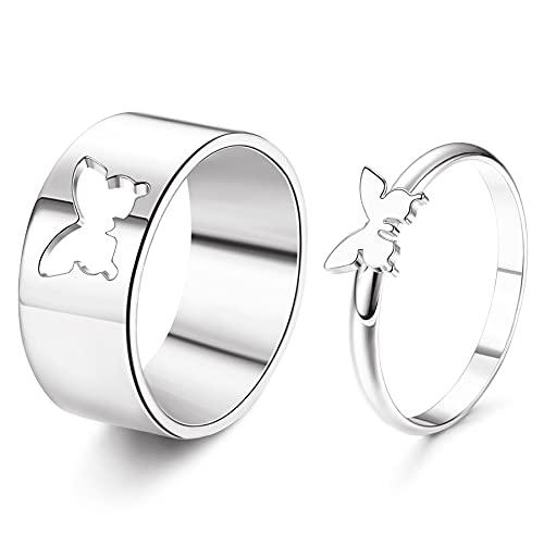 JeweBella 1 par de anillos de parejas para mujeres y hombres de acero inoxidable...
