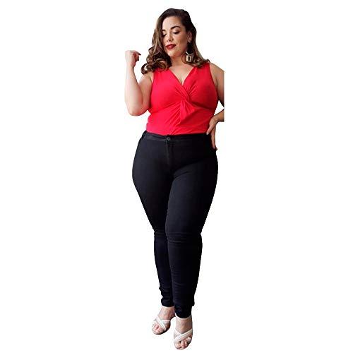 Calça Jeans Feminina Plus Size Cintura Alta (Preta, 46)