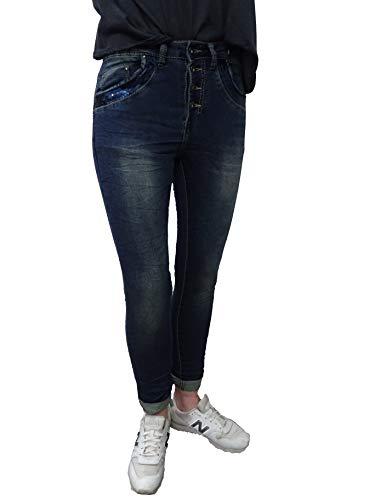 Place du Jour Baggy Boyfriend dames stretch broek vintage denim jeans knopen
