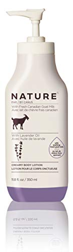 Nature By Canus Creamy Body Lotion, Lavender Oil, 11.8 Oz, With Smoothing Fresh Canadian Goat Milk, Vitamin A, B3, Potassium, Zinc, and Selenium