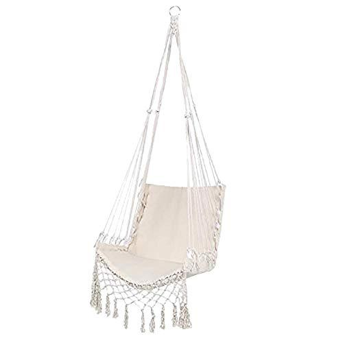 Gifftiy staande hangmat achtertuin hangmat Scandinavische stijl hangmat veiligheid opknoping hangstoel schommeltouw outdoor binnen opknoping stoel tuin stoel voor kind volwassen Beige