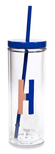 Kate Spade New York Vaso con inicial aislado con popote de silicona reutilizable, taza de viaje de acrílico de 20 onzas con tapa, H (azul)