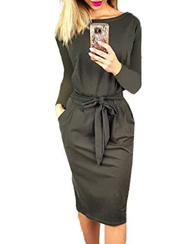 PRETTYGARDEN Women's 2019 Casual Short Sleeve Party Bodycon Sheath Belted Dress with Pockets (Y-Dark Grey, Large)