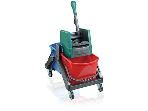Leifheit Professional Carro de limpieza en húmedo Duo con dos cubos de 17 litros, carro con ruedas, carrito de limpieza con prensa de palanca manual