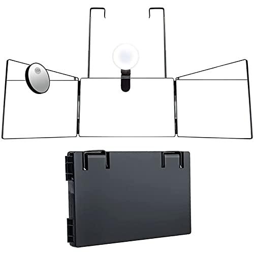 Loocoo, specchio a 3 vie, a LED, con lente di ingrandimento 10 volte con altezza regolabile, per tagliare e acconciare, tagliare o radere la testa e il collo a casa mani libere.…