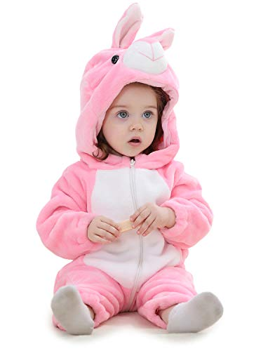 Adorel Baby Rompers Flannel Winter Jumpsuit Dier Capuchon Konijn Pink 18-24 Maanden (Fabrikant Maat 100)