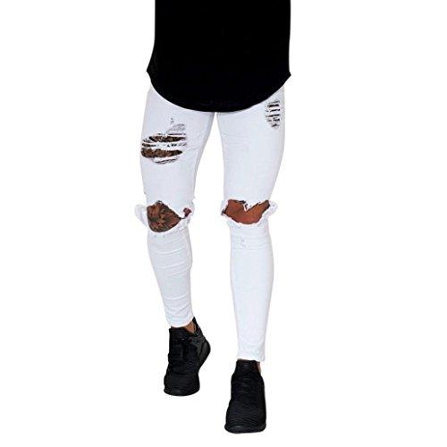 Pantalones Hombres Vaqueros Originales Rotos Casuales Motocicleta Pantalones Slim Agujero Elasticos Streetwear Moda Pantalón STRIR (Blanco, S)