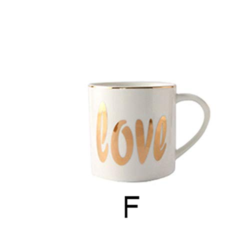 YYZC Keramik Kaffeetasse American Style Ceramic Tea Cup 300 ml Frühstück Cup Milk Cup Küchenzubehör (Capacity : 300ML, Color : F)