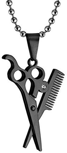 NC66 Collar de Peine de Tijera con Personalidad de Peluquero y Peluquero de Acero Inoxidable para Hombre-Negro