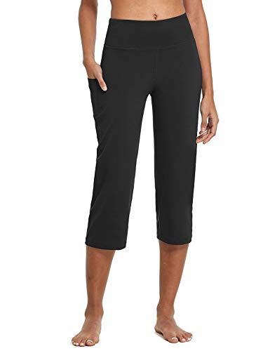 BALEAF Yoga Pants for Women Capris High Waist Leggings with Pockets Wide Leg Exercise Workout Crop Straight Open Bottom Black XXL