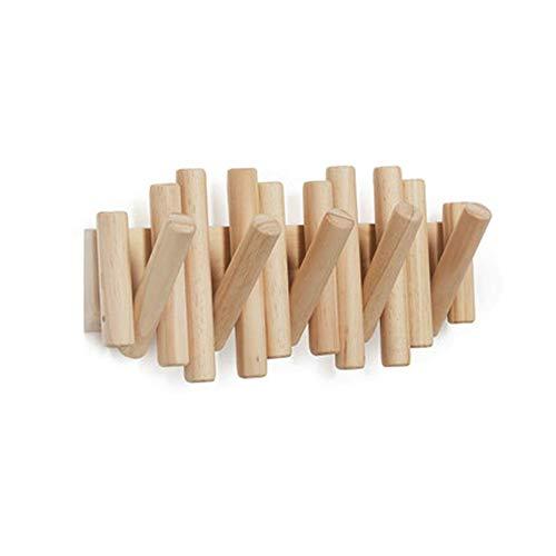 Houten haak aan de muur gemonteerde kapstok eiken, met 5 haken voor eenvoudige opslag, ruimtebesparend, de moeite waard