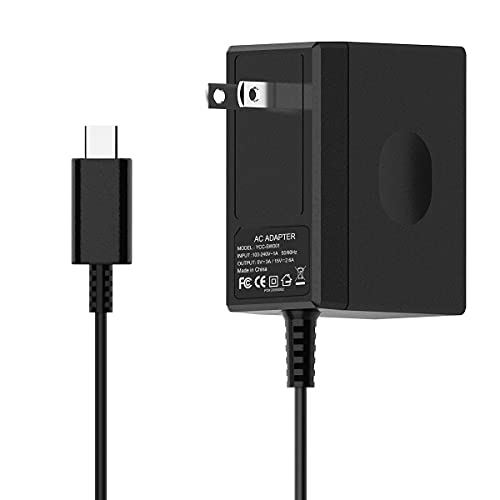 Charger for Switch,Fast Switch Charger AC Adapter for Switch /Lite/Dock/Pro Controller with 5FT USB Type C Cable 15V/2.6A Power Supports TV Mode and Dock Station