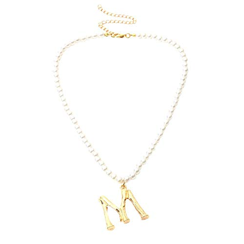 MSYOU Elegant Women Necklace Personality M Pendant Pearl Necklace Jewelry Accessories for Clothes Decor