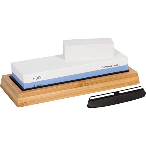Soymerica Premium Sharpening Stones 2 Side Grit 1000/6000 Whetstone - Kitchen Knife Sharpener Waterstone with Non-Slip Bamboo Base & Flattening Stone