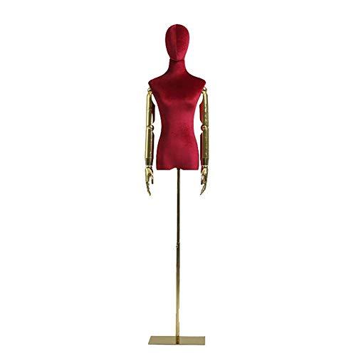 HXCD Torso de Cuerpo de maniquí de Forma Femenina con Brazo de plástico, maniquí de Torso Superior de Altura Ajustable para Vestido de Novia/Camisetas (Color: Rojo)