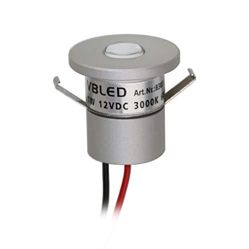 VBLED® LED Aluminium Mini Einbaustrahler IP65 wassergeschützt - 1W 12VDC 60lm warmweiß