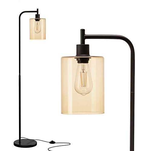 Addlon LED Floor Lamp, with Hanging Glass Lamp Shade and LED Bulb for Bedroom and Living Room, Modern Standing Industrial Lamp Tall Pole Lamp for Office, Tawny