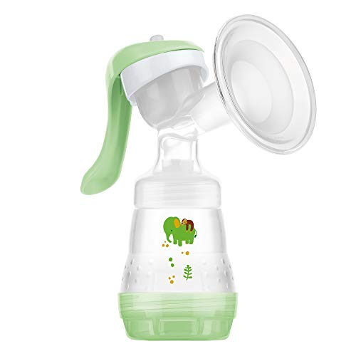 MAM Manual Breast Pump, Portable Breast Pump with Easy Start Anti-Colic Baby Bottle, Includes 2 Bottle Nipples, 1-Count, Green, One Size