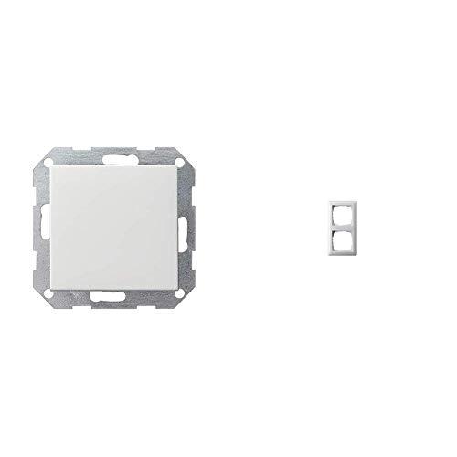 Gira 012603 Tastschalter Wechsel System 55 250 V, Weiß & 021203 Rahmen 2-fach ST55, reinweiß-glänzend