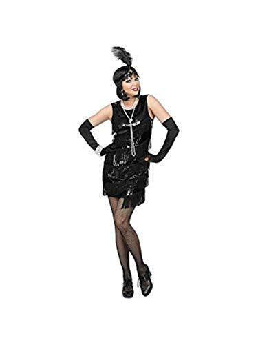 Widmann - volwassenen kostuum Charleston jurk Medium zwart