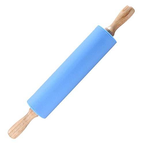LLAAIT 3 Tailles poignée antiadhésive Silicone Rouleau à pâtisserie pâte à pâtisserie Rouleau de Farine Cuisine Cuisson Outil de Cuisson ménage Rouleau à pâtisserie, Bleu, 23 X4 cm