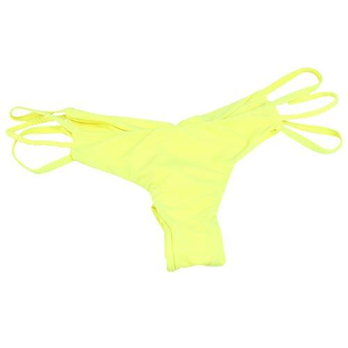 Dorical Damen Bikinihose Bikinislip Panty Bikini-Hose Seitlich Hohl/Frauen Badehose Tanga String Rüschen Brazilian Sexy Bikini Slip Schnüren Höschen Unterwäsche Schwimmhose(Gelb,Small)