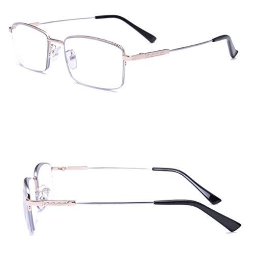 Multifocale progressiva Computer occhiali da lettura lenti Reversibile Eye Glasses Blue Light Blocco occhiali da lettura for uomini e donne (Color : Gold, Size : 4.50x)