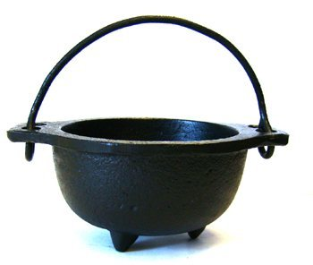 """Cast Iron Cauldron w/handle, ideal for smudging, incense burning, ritual purpose, decoration, candle holder, etc. (4"""" Diameter Handle to Handle, 2.5"""" Inside Diameter)"""