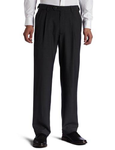 Haggar Men's Big & Tall Eclo Stria Pleat-Front Expandable Waist Dress Pant Medium Grey 56x32
