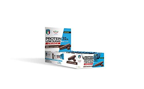 Equilibra Integratori Alimentari, Barrette Protein 31%, Dark Choco Caramel, Low Sugar, Senza Olio di Palma, Linea Sport, Figc, Confezione da 24 Barrette, 24 x 35 g
