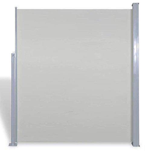 tidyard Seitenmarkise Seitenrollo Markise Ausziehbar Seitenwandmarkise Windschutz & Sichtschutz Stahlrahmen 160 x 300 cm Creme für Terrasse oder Balkon