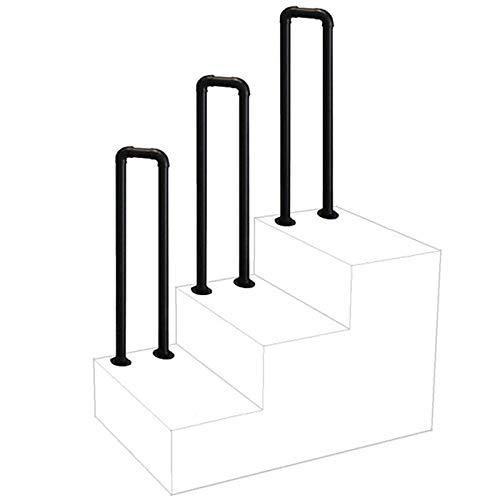 XFSHKJS En Forma de U Barandilla de piquete Adapta 1-Pasos for la Escalera Exterior, Tubo Negro Mate Hierro Forjado Escaleras Pasamanos Pasamanos de Medidas concretas de Cemento y peldaños de Madera