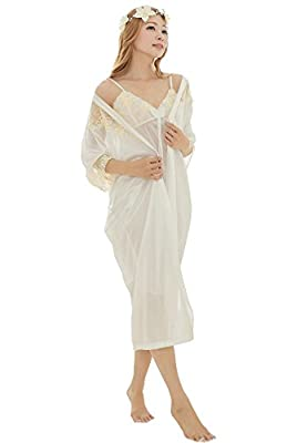 Camellia12 Women's Sheer Floral Lace Broidery Chemise Chic 2pcs Satin Robe Set