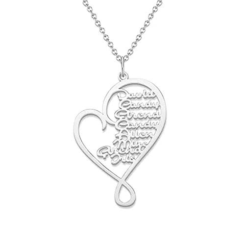 Collar De Corazón De Mujer De Plata Esterlina 925 Collar Con Colgante De Nombre Personalizado 1-8 Collar De Familia De Corazón Collar De Encanto Personalizado Para Amigos De La Familia
