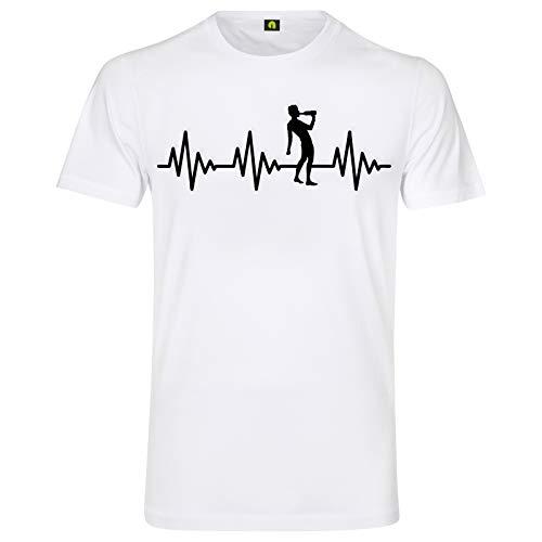 Herzschlag Saufen T-Shirt | EKG | Alkohol | Bier | Schnaps | Wein | Whisky Wodka Weiss M