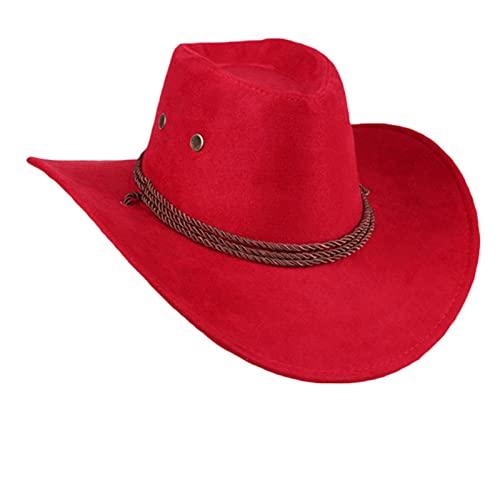 Western Cowboy Cowgirl Hut Hero Style Retro Schwarz Braun Rot Kunstleder Männer Frauen Reitmütze Breite Krempe 58CM