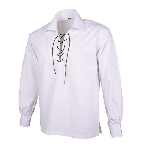 Men's Scottish Jacobite Ghillie Kilt Highland White Shirt Long Sleeve Lace Up Medieval Renaissance Pirate Costume (2X Large, White)