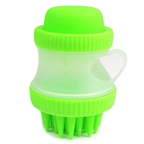 QVC Dog Bath Brush Comb Cleaning Bath Massage Dog Cat Brush Shampoo Grooming Silicone Pet Brush Bath Tools for Dog,Green,one Size