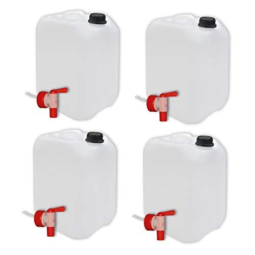 4er Set: 10 Liter Kanister Natur mit Hahn