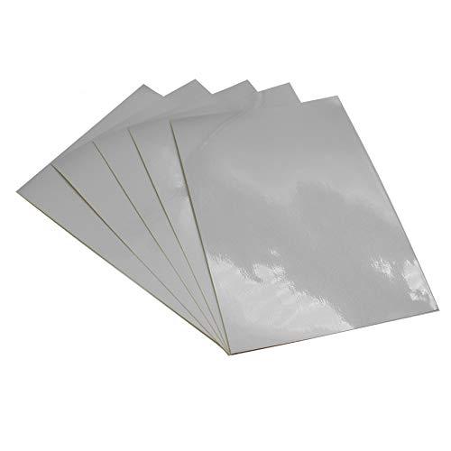 (29 €/m²) Plotterfolie Reflektierend Din A4 Format Effektfolie DIY Basteln Bastelfolie Kfz Folie Plotten für Aufkleber Sticker Beschriftungen (Weiß, 5 Stück)
