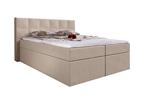 Furniture for Friends Möbelfreude® Boxspringbett Bea Kunstleder 180x200 cm Creme H2/H3 inkl. Visco-Topper, 7-Zonen Taschenfederkern-Matratze