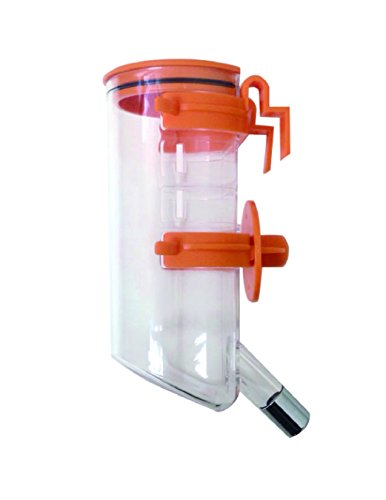 Choco Nose H220 Patented No Drip Top-Fill Small-Sized Dog, Cat Water Feeder with Hook, Pet Water Dispenser, Water Bottle 13.5 Oz. Nozzle Diameter: 16mm (Orange)