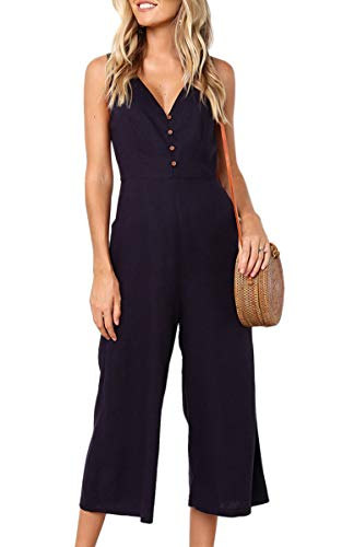 ECOWISH Womens Jumpsuits Casual Button Deep V Neck Sleeveless High Waist Wide Leg Jumpsuit Rompers 103 BlackX-Large