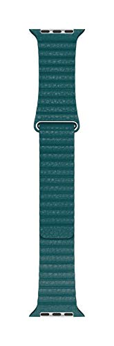Apple Watch (44 mm) Lederarmband mit Schlaufe, Pfauenblau - Large