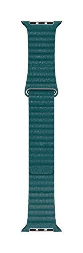 Apple Watch (44mm) Lederarmband mit Schlaufe, Pfauenblau - Medium